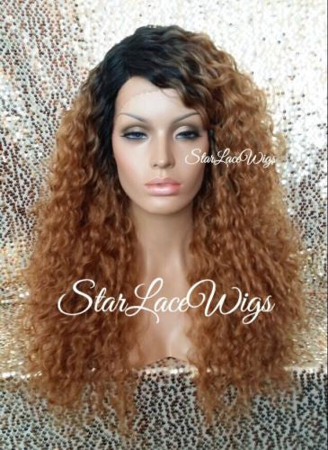 Long Strawberry Blonde Curly Synthetic Lace Wig