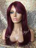 Red Long Straight Human Hair Blend Lace Front Wig