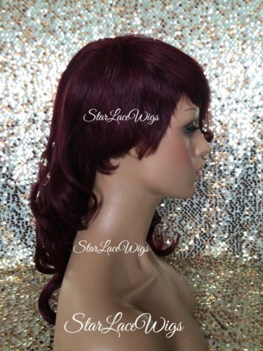 Burgundy Curly Synthetic Wig With Layers