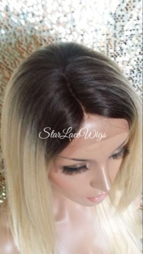 Golden Blonde Human Hair Blend Lace Front Wig With Bangs