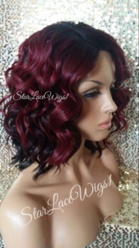 Short Wavy Burgundy Dark Root Synthetic Wig Cosplay