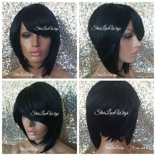 Short Straight Black Synthetic Bob Wig With Bangs