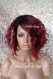 Curly Red Human Hair Blend Wigs For Women