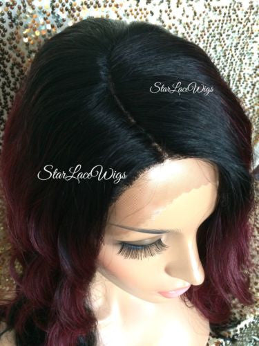 Burgundy Ombre Synthetic Lace Wig