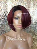 Straight Burgundy Human Hair Blend Lace Front Wig