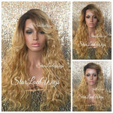 Long Wavy Honey Blonde Synthetic Lace Front Wig