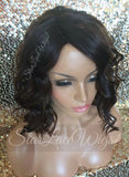 Short Brown Curly Synthetic Bob Wig