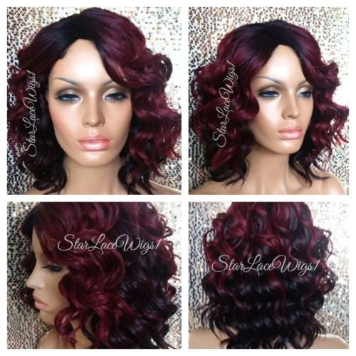 Short Wavy Burgundy Wigs For Women