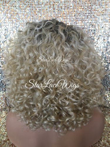 Curly Ash Blonde Lace Front Wig