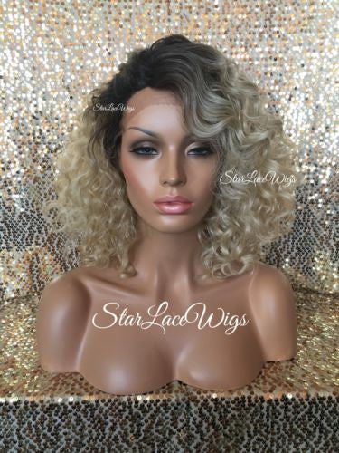 Curly Ash Blonde Wigs For White Women