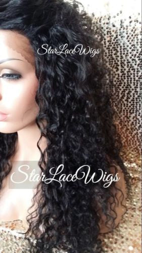 Black Curly Layered Synthetic Lace Wig
