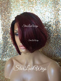 Red Human Hair Blend Wigs For Women