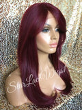 Burgundy Human Hair Blend Lace Front Wig