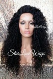 Long Black Curly Layered Lace Wig