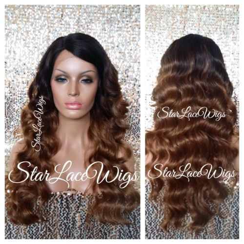 Long Human Hair Blend Body Wave Lace Wig