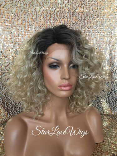 Curly Ash Blonde Dark Root Lace Front Wig