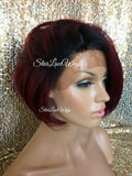 Straight Red Human Hair Blend Bob Wig