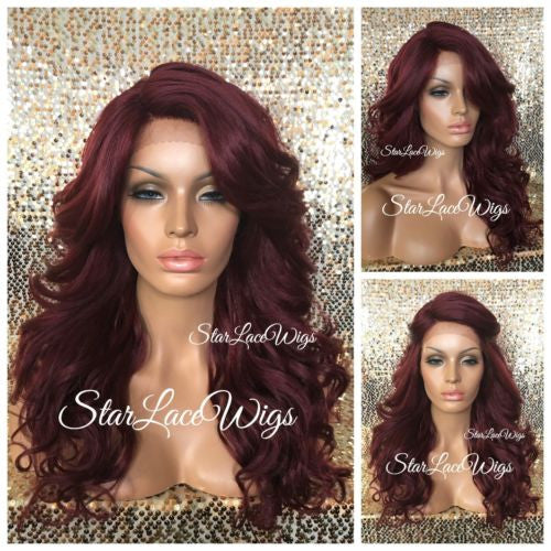 Curly Burgundy Red Synthetic Lace Front Wig