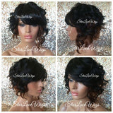 Short Curly Lace Front Bob Wig Color Mix #1b #27 #30 Straight Bangs Heat Safe