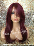 Red Human Hair Blend Lace Front Wig