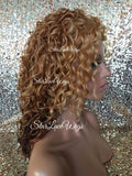 Wavy Strawberry Blonde Ombre Synthetic Lace Front Wig
