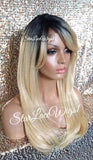 Long Blonde Straight Human Hair Blend Lace Front Wig