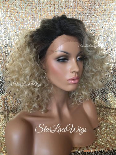 Curly Ash Blonde Wigs For Women