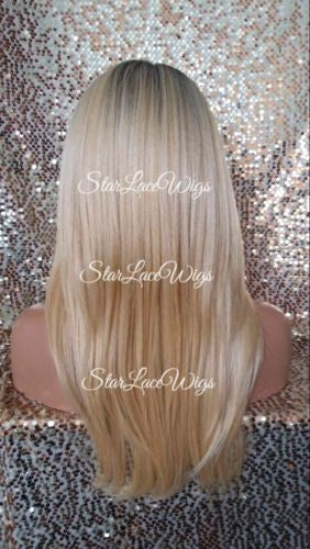 Human Hair Blend Blonde Lace Wigs For Women