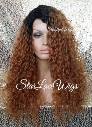 Long Auburn Curly Synthetic Lace Front Wig