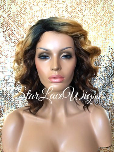 Dark Root Curly Ombre Wig For Women
