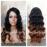 Black Wavy Ombre Synthetic Lace Front Wig