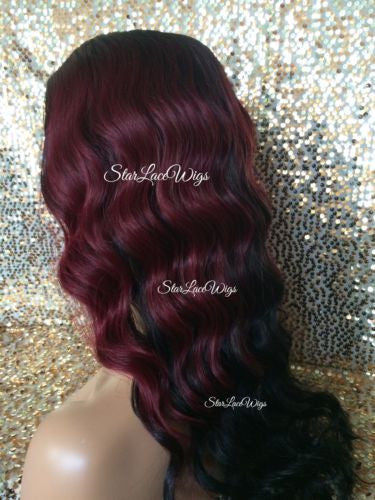 Burgundy Ombre Synthetic Lace Front Wig