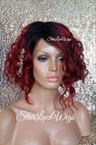 Red Dark Root Wavy Bob Wig