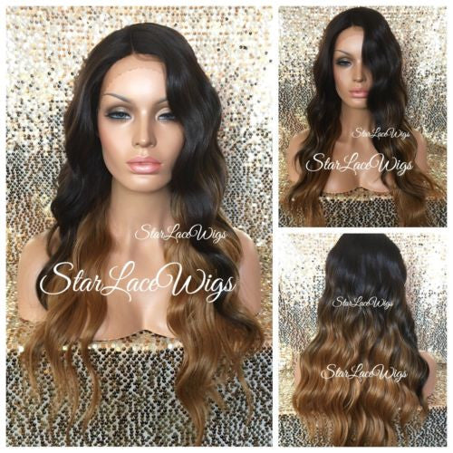 Long Brown Auburn Wavy Synthetic Lace Front Wig