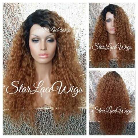 Lace Front Wig Long Synthetic Curly Layers 1b Strawberry Blonde - Janine