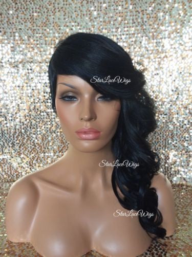 Long Curly Shaved Side Synthetic Wig