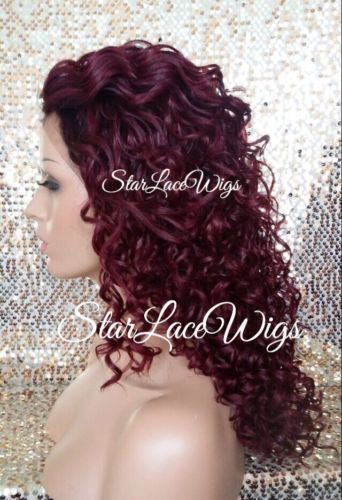 Curly Burgundy Lace Front Wig