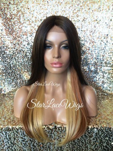 Long Straight Ombre Synthetic Lace Wig