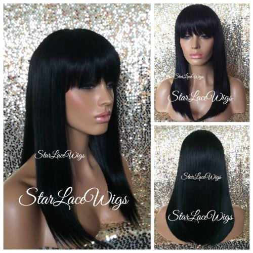 Straight Black Synthetic Wig With Bangs