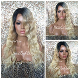 Blonde Dark Root Wavy Synthetic Lace Front Wig