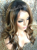 Long Wavy Auburn Dark Root Synthetic Lace Front  Wig