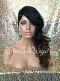 Shaved Side Synthetic Wig Black Auburn