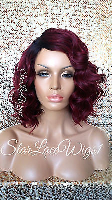 Short Red Wavy Synthetic Bob Wig