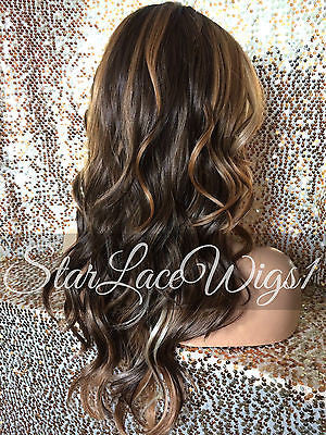 Blonde Brown Auburn Synthetic Lace Wig