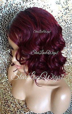 Short Burgundy Wavy Synthetic Bob Wig For Sale