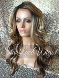 Long Wavy Auburn Dark Root Lace Wig