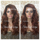 Long Curly Human Hair Blend Lace Front Wig