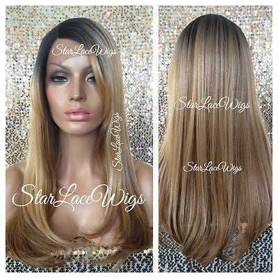 Curly brown synthetic lace front wig with bangs alyssa starlacewigs long straight blonde synthetic lace front wig highlights dark roots bangs sonya pmusecretfo Choice Image
