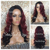 Burgundy Ombre Wavy Synthetic Lace Front Wig