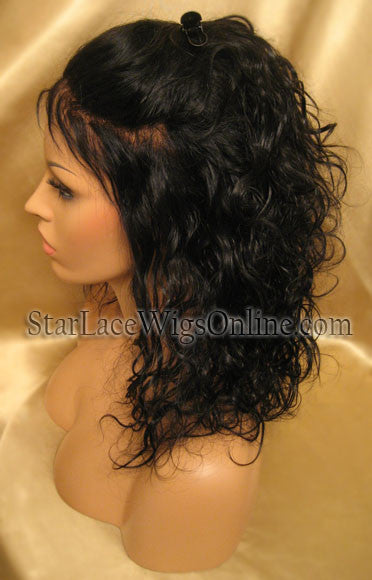Wavy Indian Remy Full Lace Wigs For Black Women